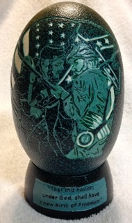 """Summer's Floral Bouquet"" - An Emu egg hand carved and decorated by Laura J. Schiller"
